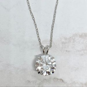 Jewelry - Solid 10k white gold 2 carat CZ solitaire necklace